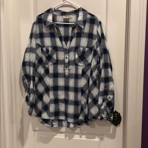 Cato blue plaid with silver glitter stripes blouse